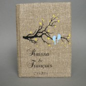 Customized Wedding guest book Blue birds on the tree branch and yellow leaves