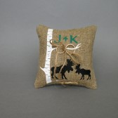 Wedding rustic natural linen Ring Bearer Pillow Two Black Moose shilluets and initials under the Birch tree and linen rope