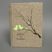 Customized Wedding guest book Light green birds on branch