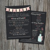 Chalkboard Wedding Program - Rustic, Chic