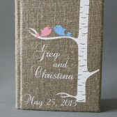Wedding rustic guest book burlap Linen Wedding guest book Personalized pink and blue bird on the birch tree