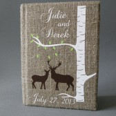 Wedding rustic guest book burlap Linen Wedding guest book Doe and Buck under the Birch tree green spring leaves