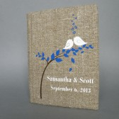 Wedding rustic guest book burlap Linen Wedding guest book White birds on the tree Navy blue leaves