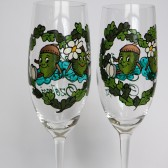 Hand painted Wedding Toasting Flutes Set of 2 Personalized Champagne glasses Two funny Acorns and oak leaves