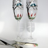 4 pc SET of Hand painted Wedding Toasting Flutes Champagne glasses and cake knives Teal birds on tree and spring flowers
