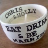 Eat Drink and Be Married handmade and personalized candle holder and wedding favor
