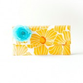 Bridal Wedding Clutch Pouch Bridesmaid gift idea Clutch Pouch Fold Over Clutch choose color flower yellow mustard
