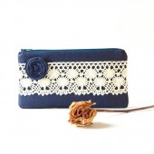 Linen Wedding Pouch Clutch Bridal Clutch Pouch bridesmaid Gift Idea Clutch in navy blue lace
