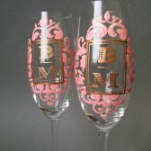 Hand painted Wedding Toasting Flutes Set of 2 Personalized Champagne glasses Initials pink royal lace