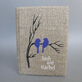 Wedding rustic guest book burlap Linen Wedding guest book Bridal shower engagement anniversary Purple birds on branch