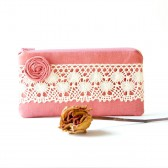Rustic Wedding Pouch Clutch, handmade clutch pouch, bridesmaid gift idea, bridal clutch pouch purse bag in pink lace rosette