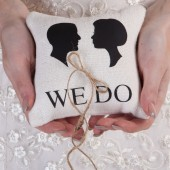 Wedding rustic natural linen Ring Bearer Pillow Black groom and bride shilluets
