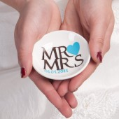 Hand painted Wedding Ring Pillow Alternative , Wedding Ring Dish Mr and Mrs text and turquoise heart