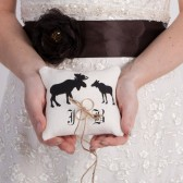 Wedding rustic natural linen Ring Bearer Pillow Black Moose shilluets and initials