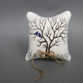 Wedding rustic natural Burlap linen Ring Bearer Pillow Purple Birds on Black tree and linen rope