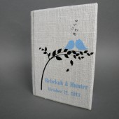 Wedding rustic guest book burlap Linen Wedding guest book Blue birds on the tree Black leaves