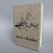 Customized Wedding guest book Purple birds on the tree branch