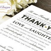 Printed 5x7 Wedding Reception Thank You Card