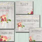 Wedding Invitation Suite Set - Printable, Custom, DIY - RUSTIC, WOOD, String Lights