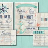 Wedding Invitation Suite Set - Printable, Custom, DIY - NAUTICAL, BEACHY, Rustic