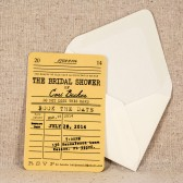Library Card Bridal Shower Invitation - Vintage Literary Wedding