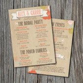 Wedding Program - Printable, Custom - DIY Wedding - RUSTIC, Kraft Paper, Jars, Double Sided