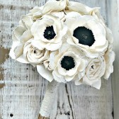 Signature Anemone Collection - Romantic Ivory Fabric Flower Heirloom Bride's Bouquet