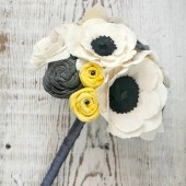 Customizable Small Fabric Anemone Grey and Yellow Alternative Heirloom Bouquet