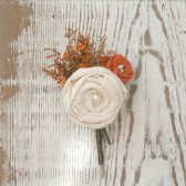 Orange Wildflower, Burlap, & Ivory Fabric Rosette Groom's Boutonniere