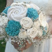 Aqua Sola Wood Alternative Wedding Bouquet