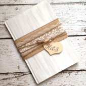 Burlap Wedding Guest Book - Personalized, Coutry Wedding, Rustic Wedding Book, Burlap and Lace