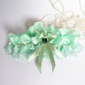Wedding Bridal Garter with Lace Embellishment Light pale green color with ribbon rose