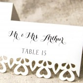 Double Heart Laser cut Escort Cards
