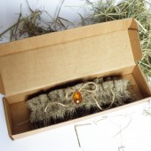 Wedding Bridal Garter Rustic Country style from Burlap linen and Amber stone