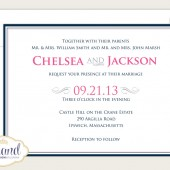 Modern Scroll Wedding Invitation - Pink and Navy Invitation Set - Custom Invite and Response Card