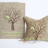 Set of 2 peaces Wedding rustic Burlap guest book and ring pillow Mint green Birds on Brown tree