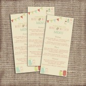 Wedding Menu Modern - Printable, Custom - DIY Wedding - Vintage, Rustic, Buntings, Mason Jars, Shabby Chic, Circus