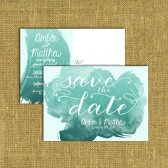 Double Sided Save the Date DEPOSIT - Printable, Custom - DIY, VINTAGE, Watercolor, Painted, Postcard, Sample, Teal, Paint, Painted, Brushed