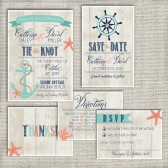 Wedding Invitation Suite Set DEPOSIT - Personalized, Digital, Printable, Custom, DIY - NAUTICAL, Beachy, Rustic