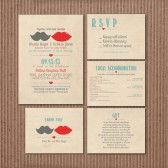 Wedding Invitation Suite DEPOSIT - Printable, Custom, DIY - Rustic, KRAFT Paper, Mustache, Lips, Vintage, Hipster, 2014