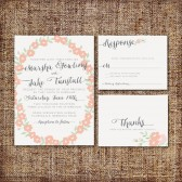 Wedding Invitation Suite DEPOSIT - Printable, Custom, DIY - MODERN, Floral, Wreath, 2014, Pink, Chic, Rustic, Flowers