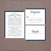 Wedding Invitation Suite DEPOSIT - Printable, Custom, DIY - MODERN, Chic, Simple, Coral, Navy, Traditional, Classic, Romantic