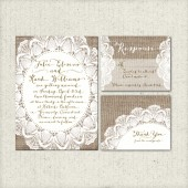 Wedding Invitation Suite DEPOSIT- Printable, Custom, DIY - Rustic, VINTAGE, Burlap, Lace, Digital, Barn Wedding, Shabby