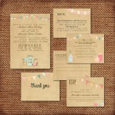 Wedding Invitation Suite - Printed, Custom, DIY - Rustic, KRAFT Paper, Buntings, Jars, Vintage, Barn Wedding