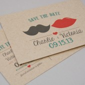 Save the Date Postcard DEPOSIT - Printable, DIY, Mustache Lips, Vintage, Rustic, Art Deco, Hipster, Modern, Kraft, Cute