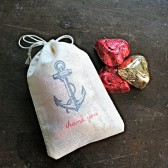 Nautical wedding favor bags, 3x4.5. Set of 50 double drawstring muslin bags. Vintage style anchor with Thank You in blue and red.