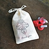 Wedding favor bags, hand stamped muslin drawstring bags, heart locket