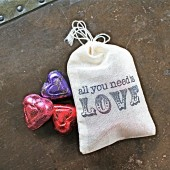 Wedding favor bags, hand stamped muslin drawstring bags, All You Need is Love