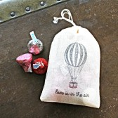 Wedding favor bags, hand stamped muslin drawstring bags, Love is In the Air