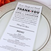 Wedding Reception Menu and Thank You Card Combo - Wedding Menu Card - Thank You Menu Card